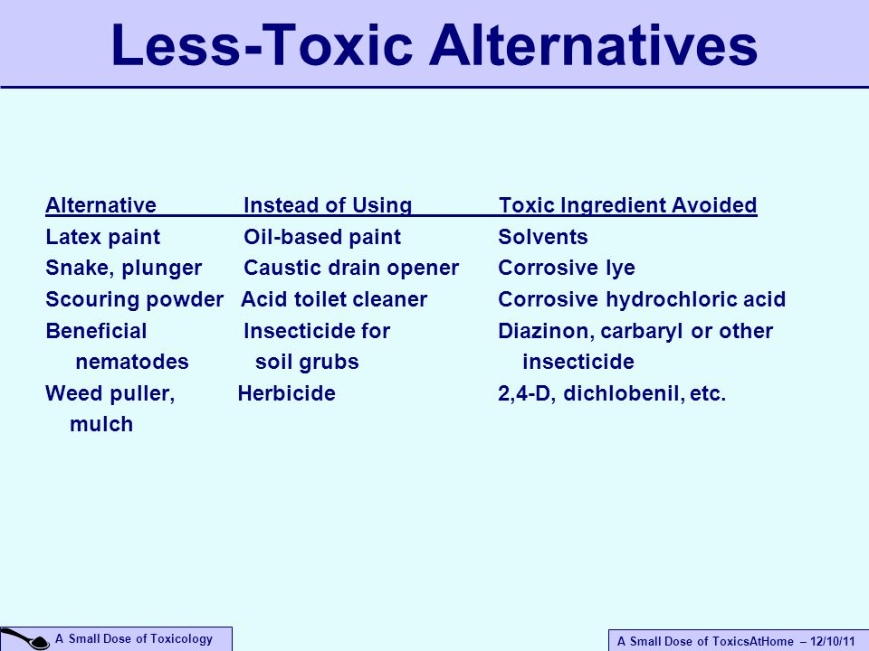 A Small Dose of ToxicsAtHome – 12/10/11 A Small Dose of Toxicology Less-Toxic Alternatives Alternative Instead of Using Toxic Ingredient Avoided Latex paint Oil-based paint Solvents Snake, plunger Caustic drain opener Corrosive lye Scouring powder Acid toilet cleaner Corrosive hydrochloric acid Beneficial Insecticide for Diazinon, carbaryl or other nematodes soil grubs insecticide Weed puller, Herbicide 2,4-D, dichlobenil, etc.