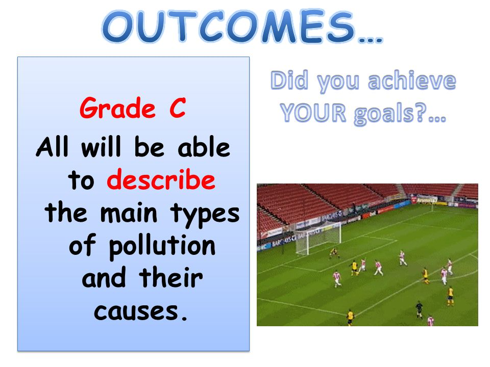 Grade C All will be able to describe the main types of pollution and their causes.