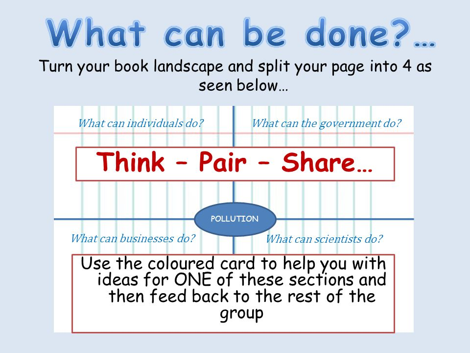 Turn your book landscape and split your page into 4 as seen below… What can individuals do?What can the government do.