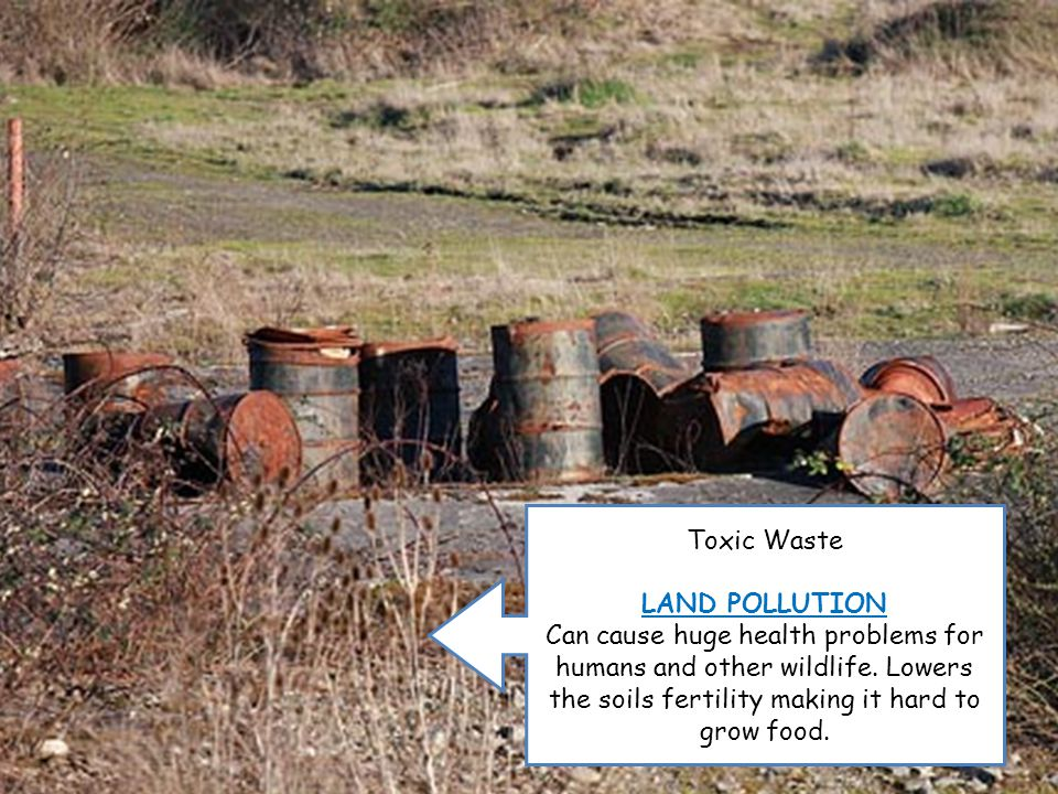 Toxic Waste LAND POLLUTION Can cause huge health problems for humans and other wildlife.