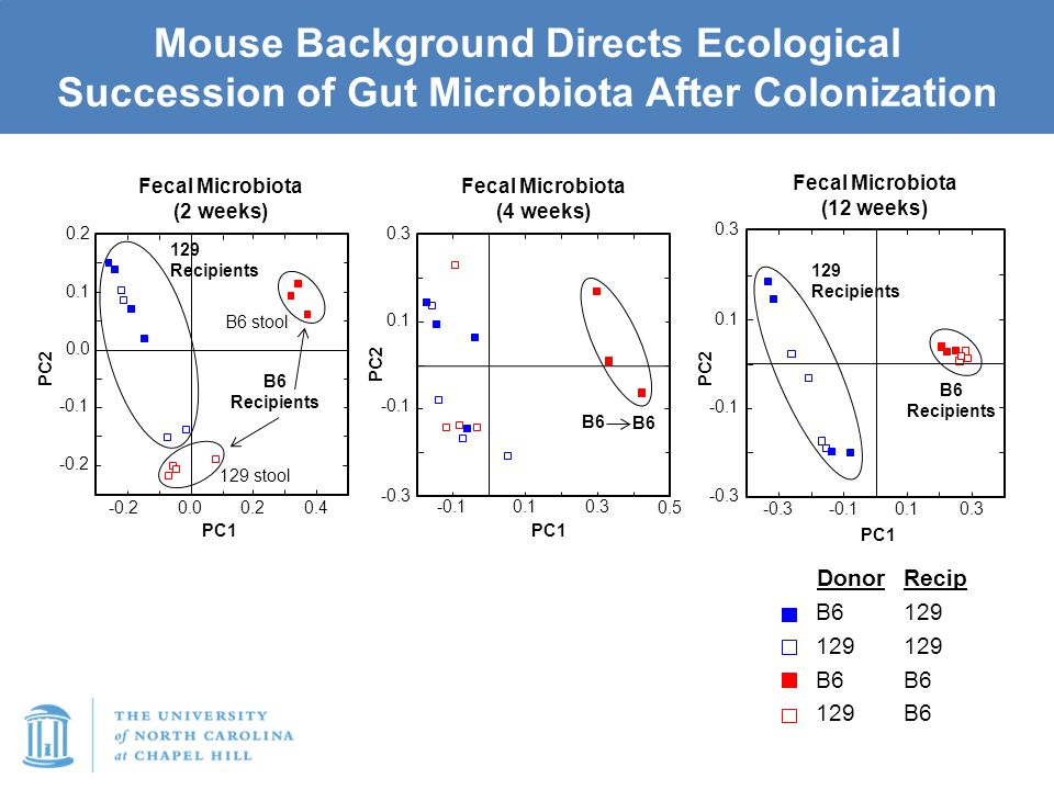 Mouse Background Directs Ecological Succession of Gut Microbiota After Colonization -0.2 -0.1 0.0 0.1 0.2 0.00.20.4 -0.2 PC2 PC1 -0.3 -0.1 0.1 0.3 -0.