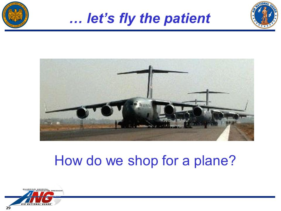 29 … let's fly the patient How do we shop for a plane?