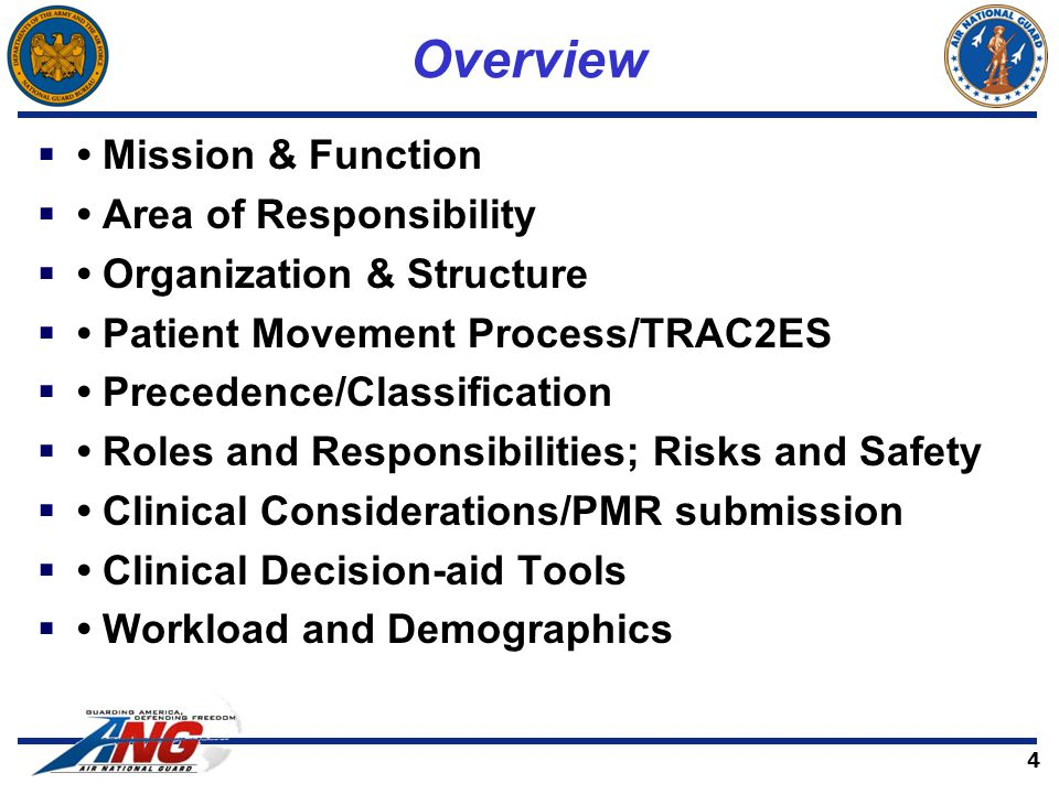 Overview  Mission & Function  Area of Responsibility  Organization & Structure  Patient Movement Process/TRAC2ES  Precedence/Classification  Roles and Responsibilities; Risks and Safety  Clinical Considerations/PMR submission  Clinical Decision-aid Tools  Workload and Demographics 4