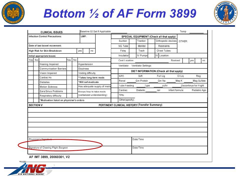 Bottom ½ of AF Form 3899