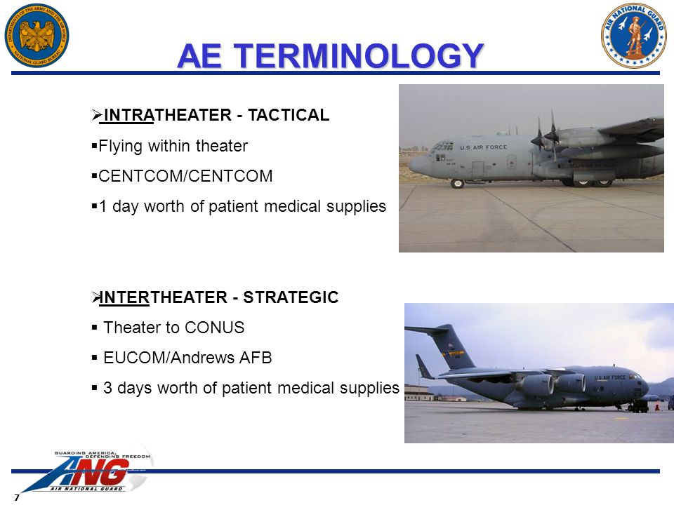 7  INTRATHEATER - TACTICAL  Flying within theater  CENTCOM/CENTCOM  1 day worth of patient medical supplies  INTERTHEATER - STRATEGIC  Theater to CONUS  EUCOM/Andrews AFB  3 days worth of patient medical supplies AE TERMINOLOGY AE TERMINOLOGY