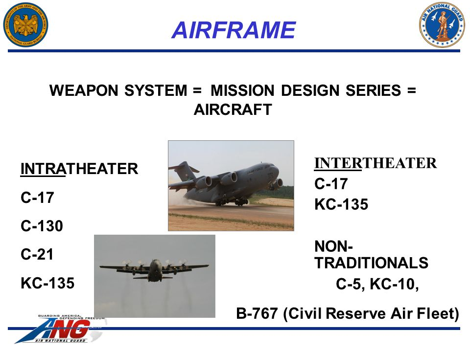 AIRFRAME INTRATHEATER C-17 C-130 C-21 KC-135 WEAPON SYSTEM = MISSION DESIGN SERIES = AIRCRAFT INTERTHEATER C-17 KC-135 NON- TRADITIONALS C-5, KC-10, B-767 (Civil Reserve Air Fleet)
