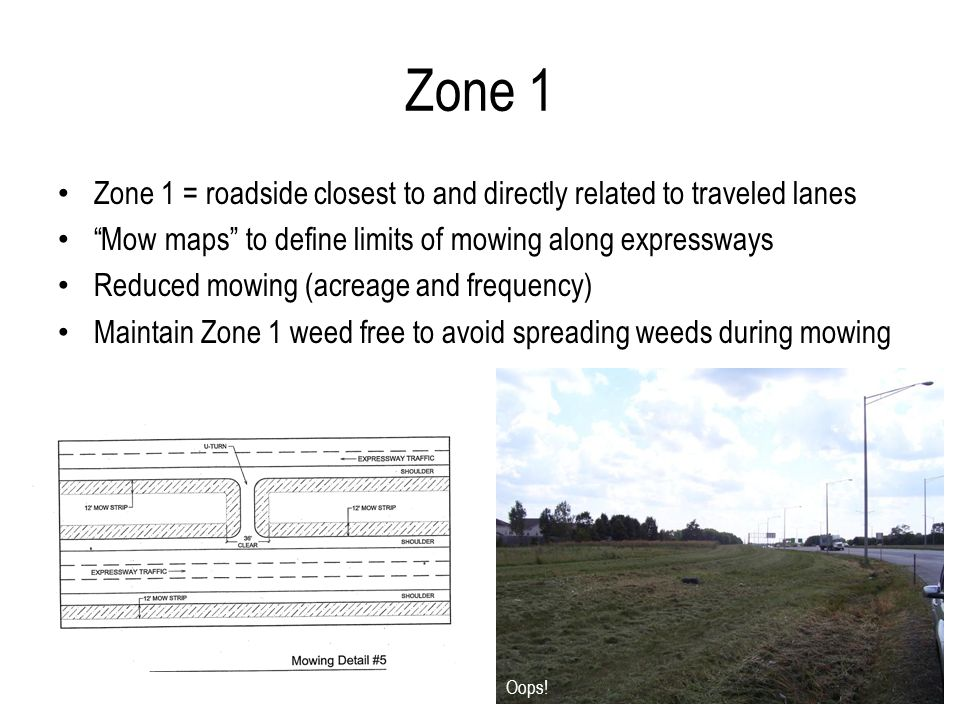 Zone 2 = roadside beyond Zone 1 Stronger relationship with adjacent property TVM (Targeted Vegetation Management) – Prescriptions for managing prairie, woodland, landscaped areas, and other cover types Zone 2 Weed control along the Bishop Ford Expressway