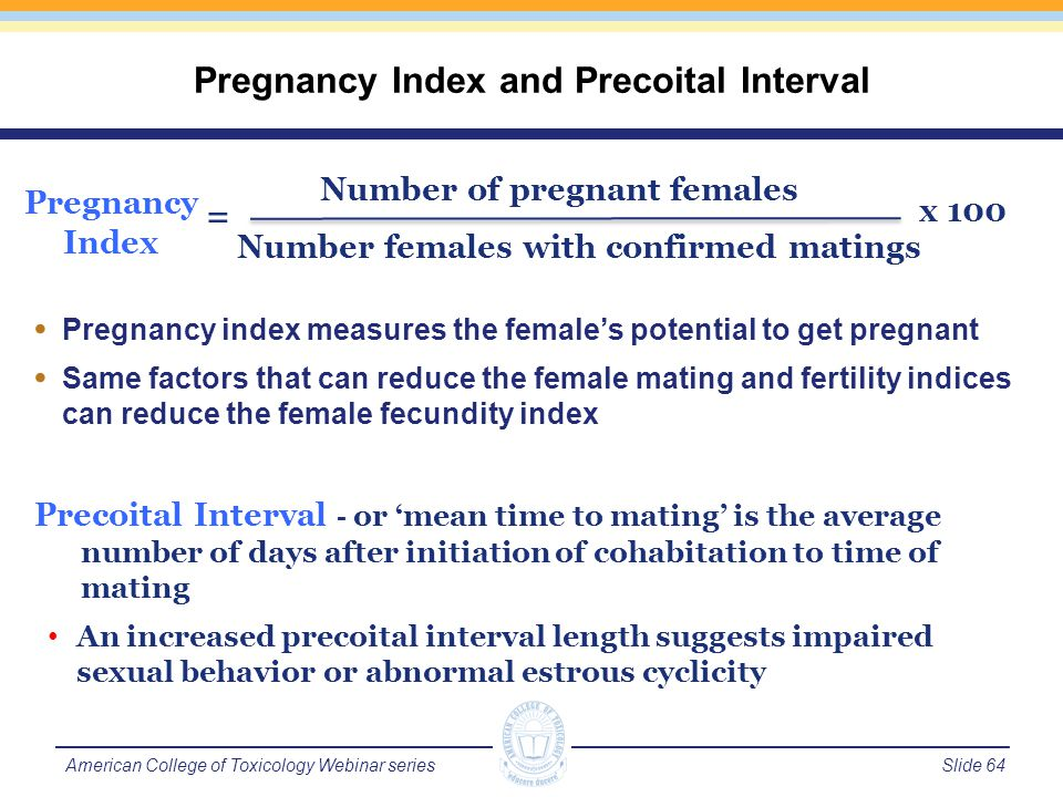 Slide 65American College of Toxicology Webinar series Confirmation of mating is usually presence of copulatory plug or sperm in vaginal smear Can be reduced by physical impairment, acute toxicity, hormonal imbalance or effects on libido Measures the ability of males to produce sperm capable of impregnating a female Same factors that can reduce the male mating index can reduce the male fertility index Male Mating and Fertility Indices Male Mating Index # of males confirmed mating # of males cohabitated x 100 = Male Fertility Index # of males impregnating a female # of males cohabitated x 100 =