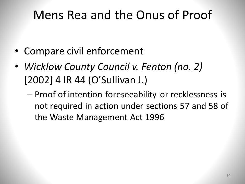 Mens Rea and the Onus of Proof Compare civil enforcement Wicklow County Council v.