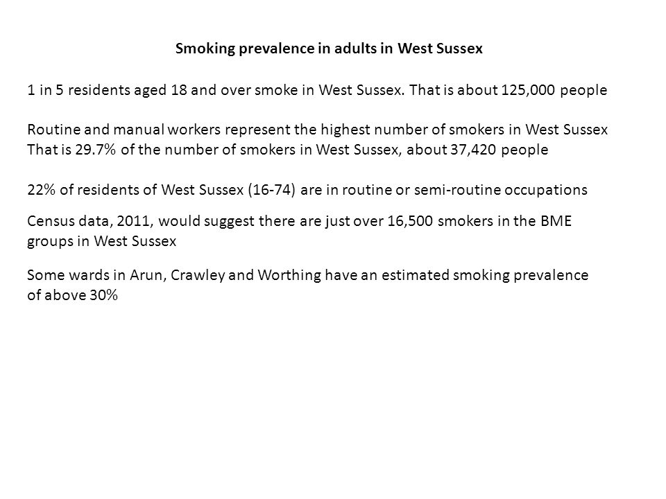 Smoking prevalence in adults in West Sussex 1 in 5 residents aged 18 and over smoke in West Sussex.