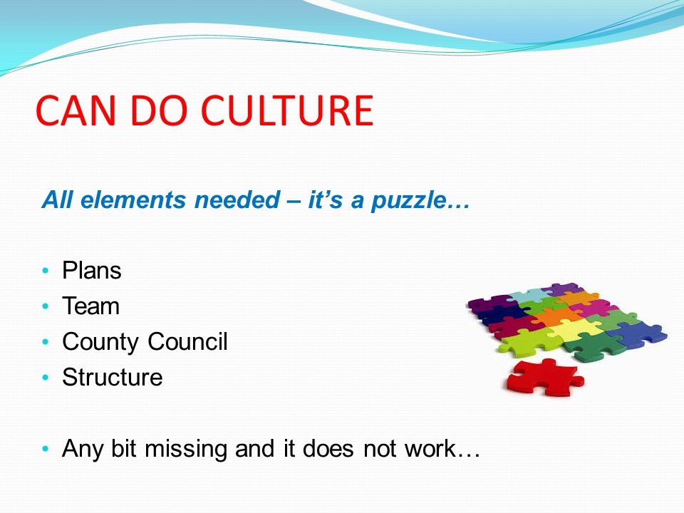 CAN DO CULTURE All elements needed – it's a puzzle… Plans Team County Council Structure Any bit missing and it does not work…