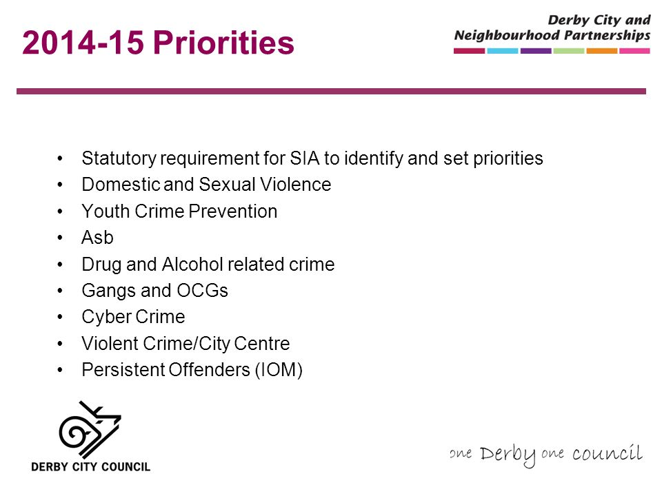 2014-15 Priorities Statutory requirement for SIA to identify and set priorities Domestic and Sexual Violence Youth Crime Prevention Asb Drug and Alcohol related crime Gangs and OCGs Cyber Crime Violent Crime/City Centre Persistent Offenders (IOM)