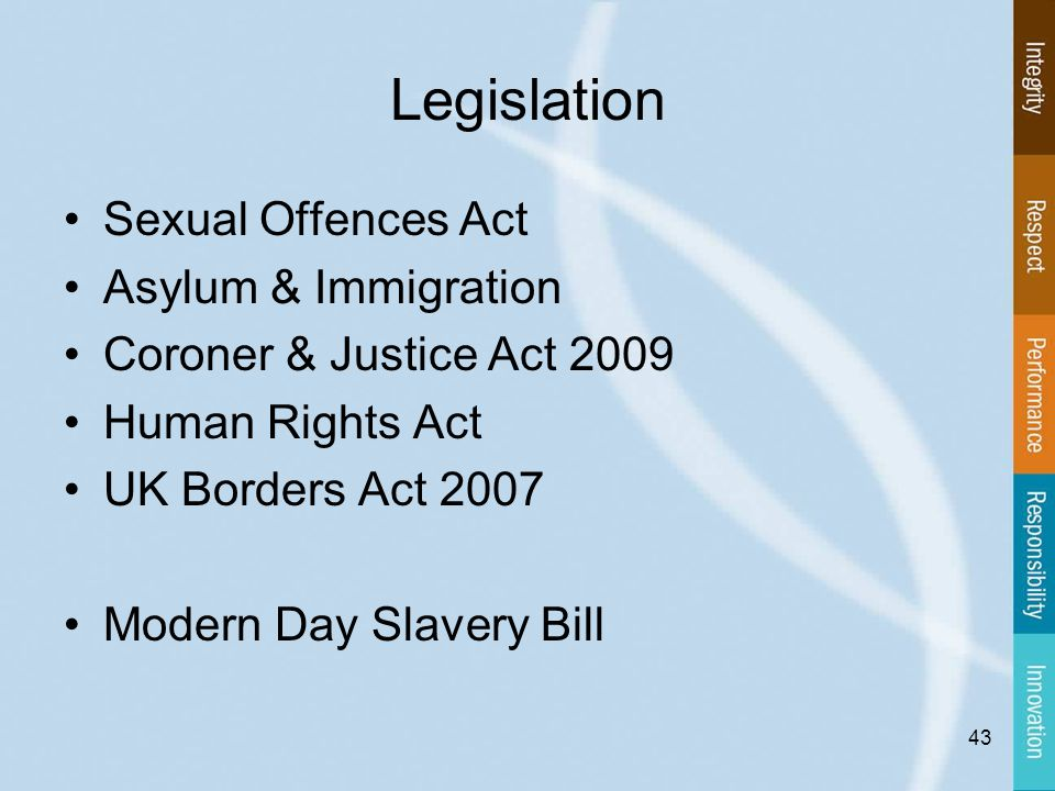 Legislation Sexual Offences Act Asylum & Immigration Coroner & Justice Act 2009 Human Rights Act UK Borders Act 2007 Modern Day Slavery Bill 43