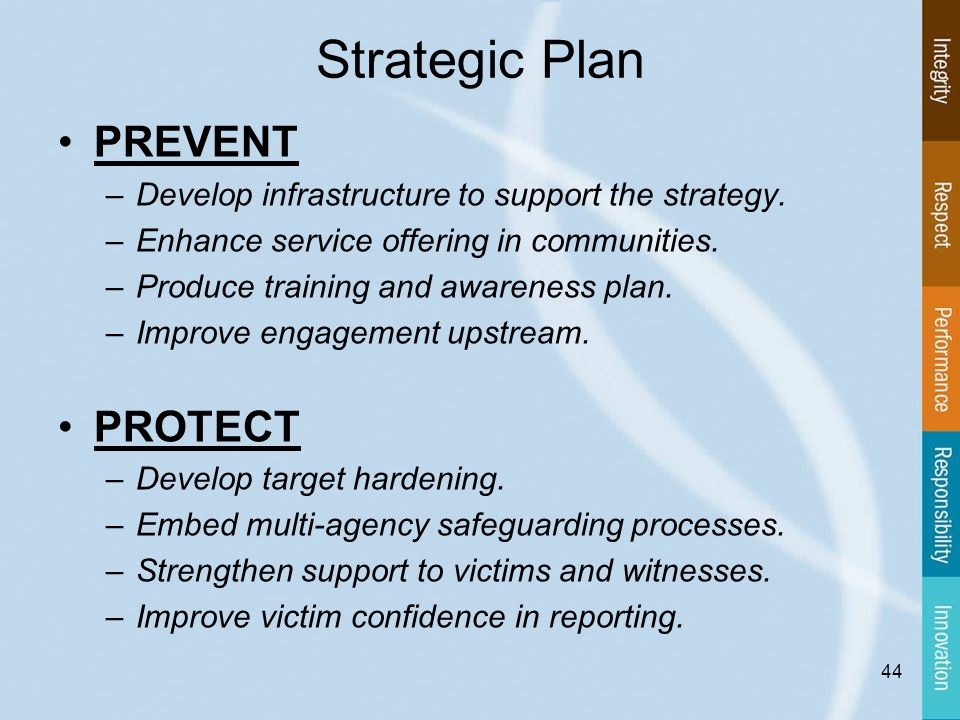 Strategic Plan PREVENT –Develop infrastructure to support the strategy.