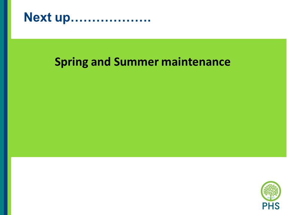 Next up………………. Spring and Summer maintenance