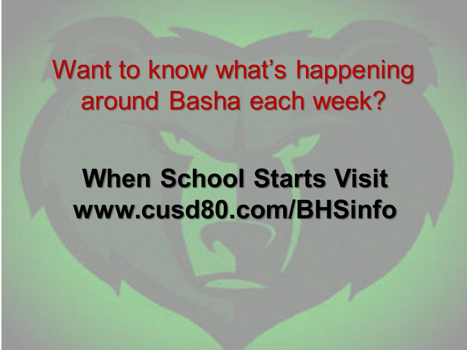Want to know what's happening around Basha each week.