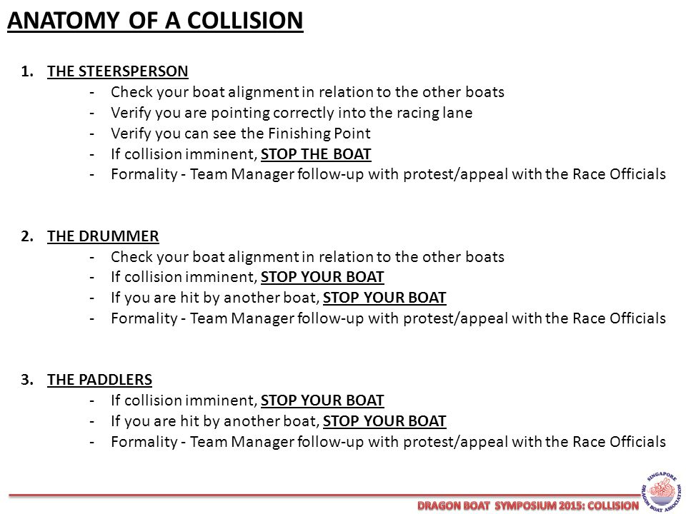 ANATOMY OF A COLLISION 1.THE STEERSPERSON -Check your boat alignment in relation to the other boats -Verify you are pointing correctly into the racing lane -Verify you can see the Finishing Point -If collision imminent, STOP THE BOAT -Formality - Team Manager follow-up with protest/appeal with the Race Officials 2.THE DRUMMER -Check your boat alignment in relation to the other boats -If collision imminent, STOP YOUR BOAT -If you are hit by another boat, STOP YOUR BOAT -Formality - Team Manager follow-up with protest/appeal with the Race Officials 3.THE PADDLERS -If collision imminent, STOP YOUR BOAT -If you are hit by another boat, STOP YOUR BOAT -Formality - Team Manager follow-up with protest/appeal with the Race Officials
