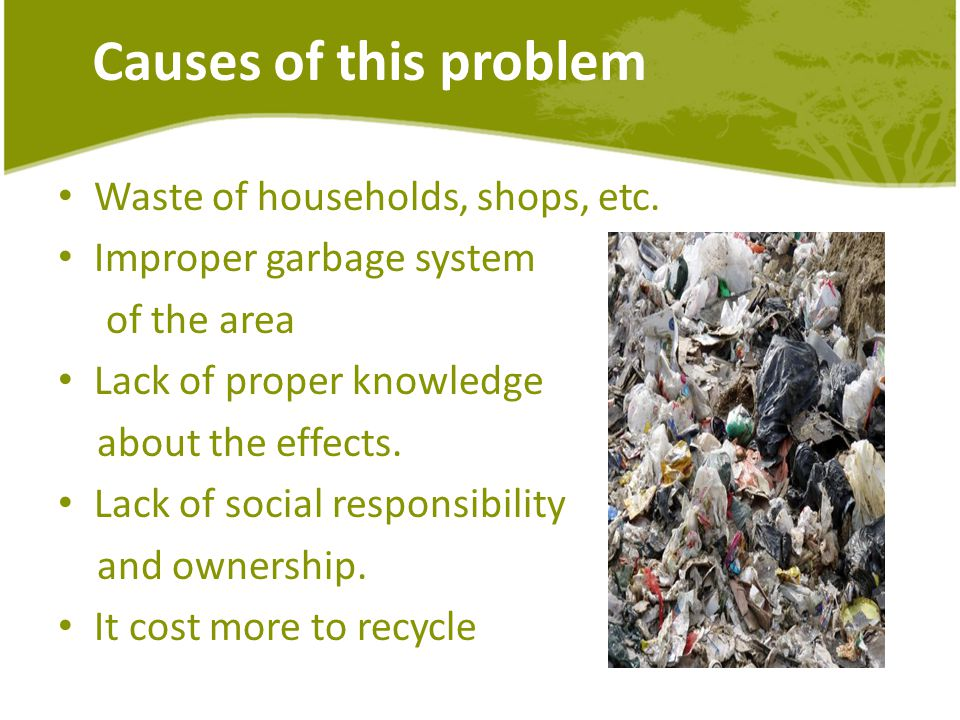Causes of this problem Waste of households, shops, etc.