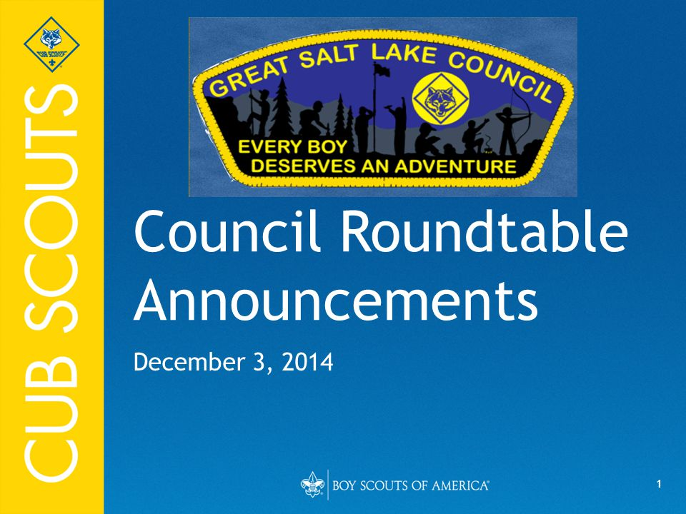 2 UPCOMING ROUNDTABLES: January 15, 2015 February 19, 2015 March 19, 2015