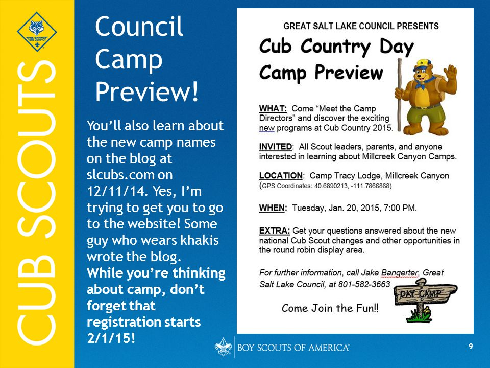9 Council Camp Preview.