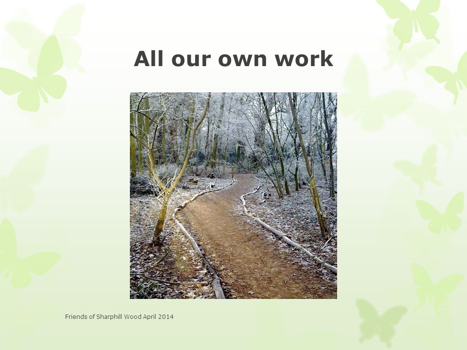 All our own work Friends of Sharphill Wood April 2014