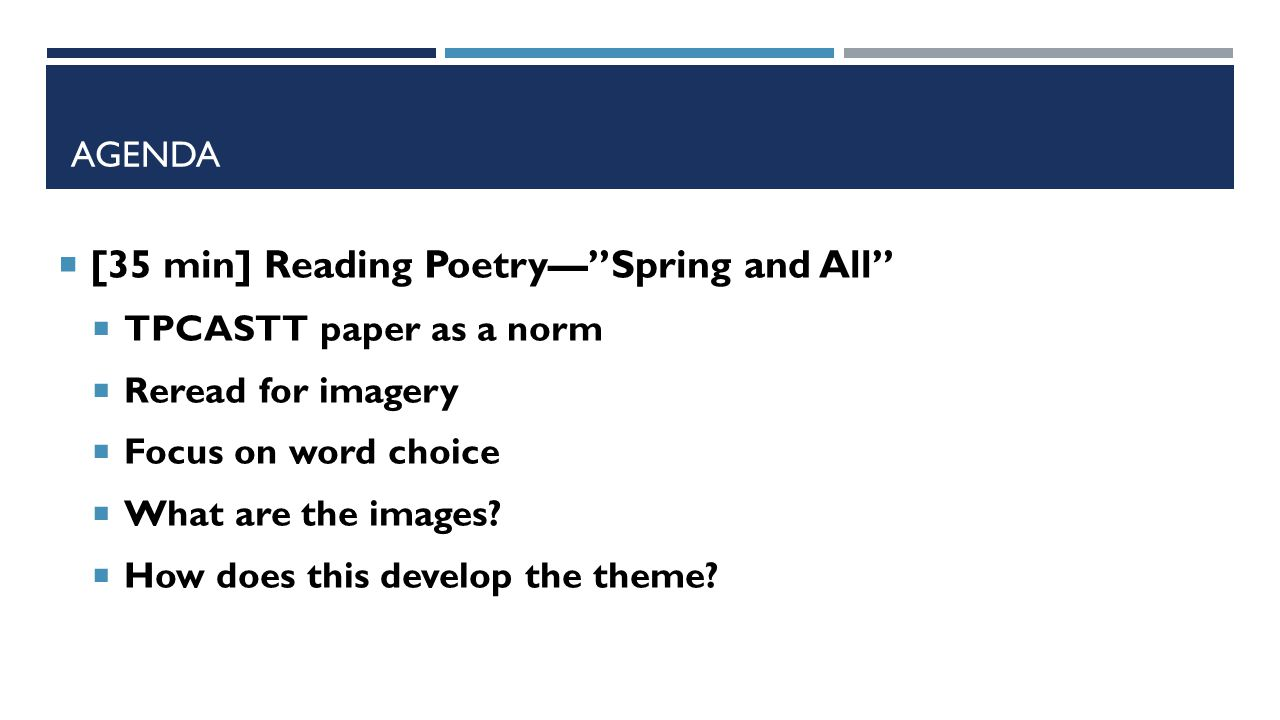 """AGENDA  [35 min] Reading Poetry—""""Spring and All""""  TPCASTT paper as a norm  Reread for imagery  Focus on word choice  What are the images?  How d"""