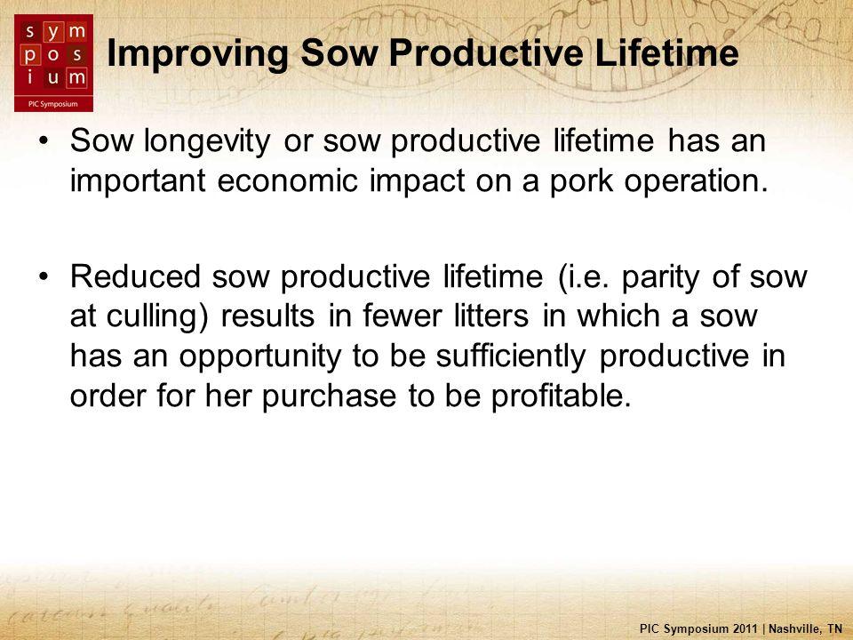 PIC Symposium 2011 | Nashville, TN Improving Sow Productive Lifetime Sow longevity or sow productive lifetime has an important economic impact on a po