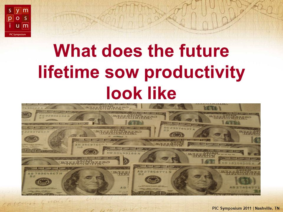 PIC Symposium 2011 | Nashville, TN What does the future lifetime sow productivity look like