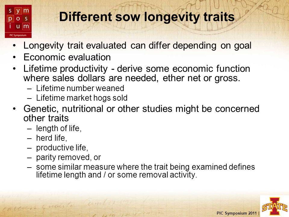 PIC Symposium 2011 | Nashville, TN Different sow longevity traits Longevity trait evaluated can differ depending on goal Economic evaluation Lifetime