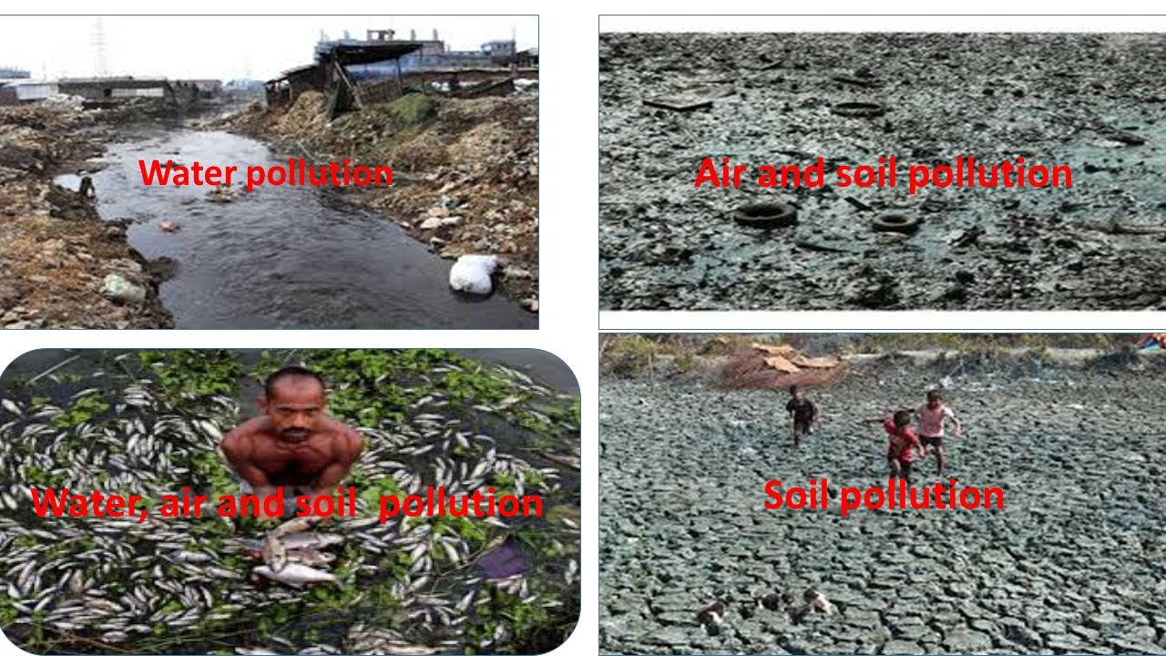 Water pollution Air and soil pollution Water, air and soil pollution Soil pollution