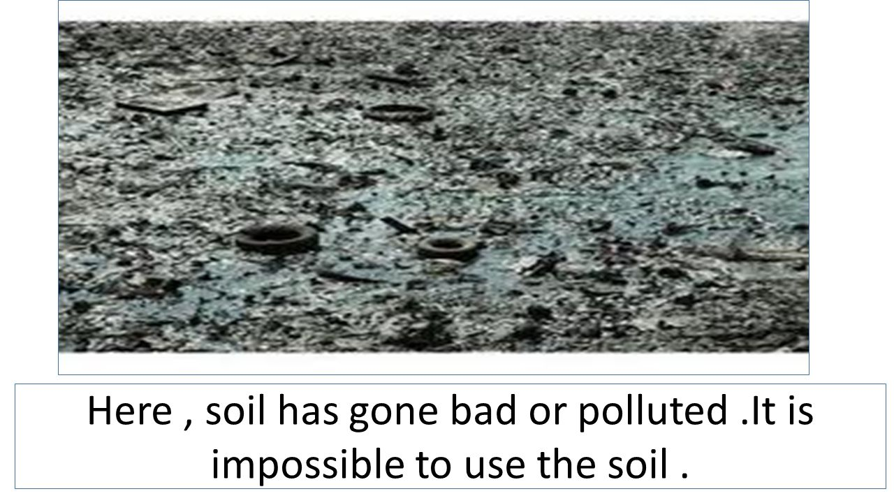 Here, soil has gone bad or polluted.It is impossible to use the soil.