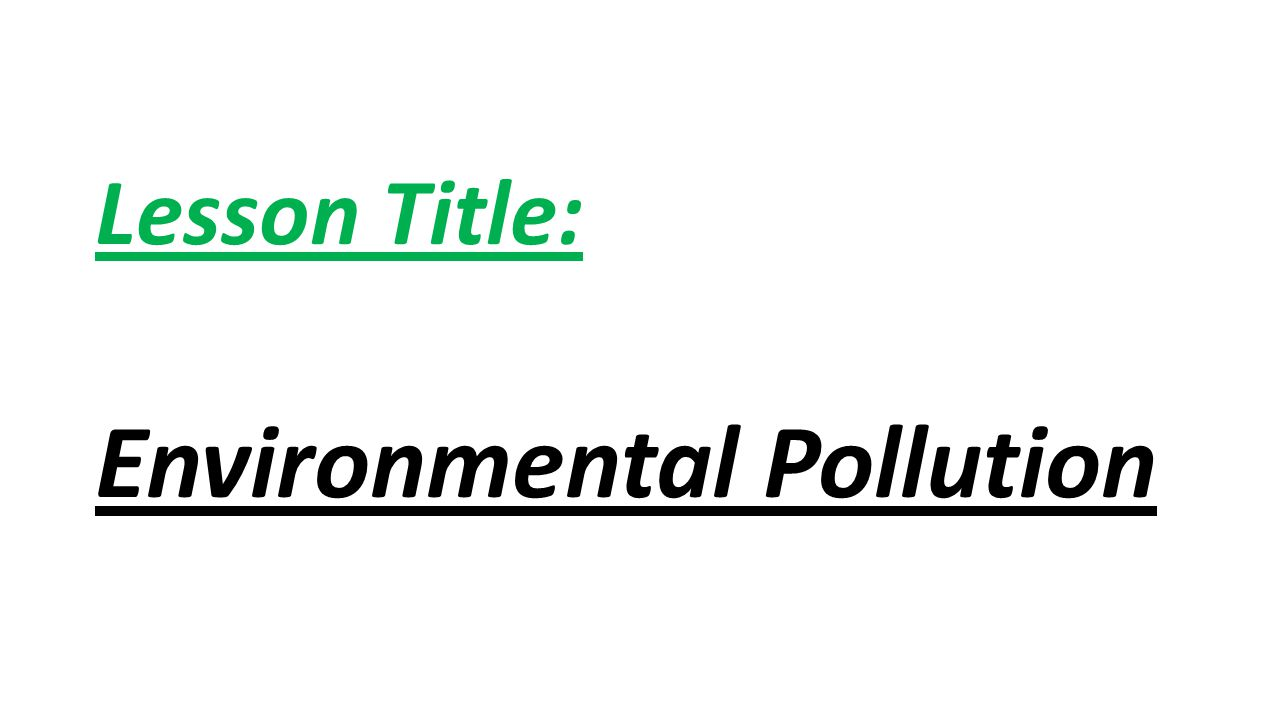 Lesson Title: Environmental Pollution