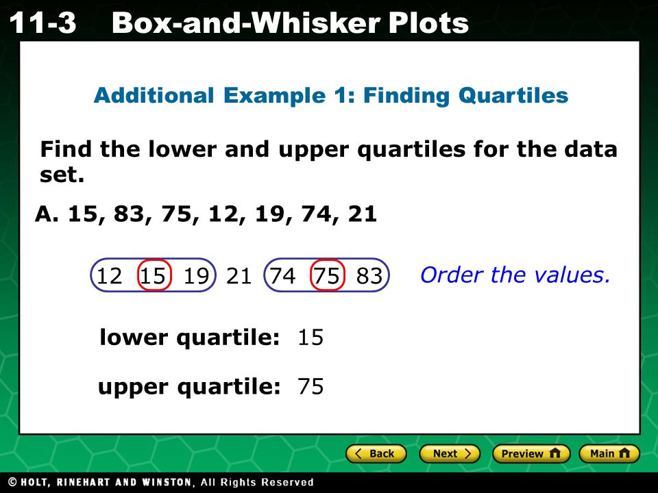 Holt CA Course 1 11-3Box-and-Whisker Plots Check It Out.