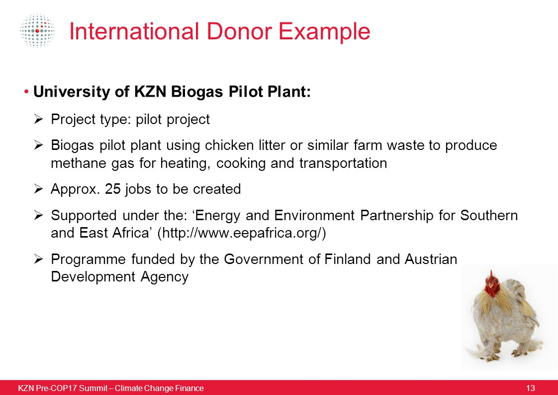 KZN Pre-COP17 Summit – Climate Change Finance13 International Donor Example University of KZN Biogas Pilot Plant:  Project type: pilot project  Biogas pilot plant using chicken litter or similar farm waste to produce methane gas for heating, cooking and transportation  Approx.