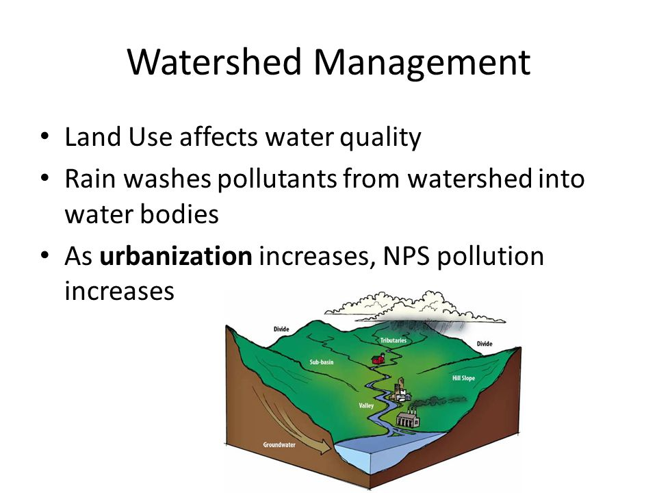Watershed Management Land Use affects water quality Rain washes pollutants from watershed into water bodies As urbanization increases, NPS pollution increases