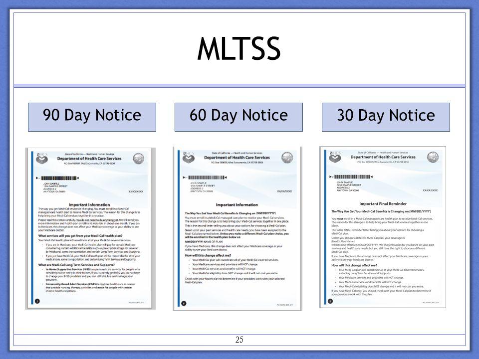 MLTSS 25 90 Day Notice 60 Day Notice 30 Day Notice