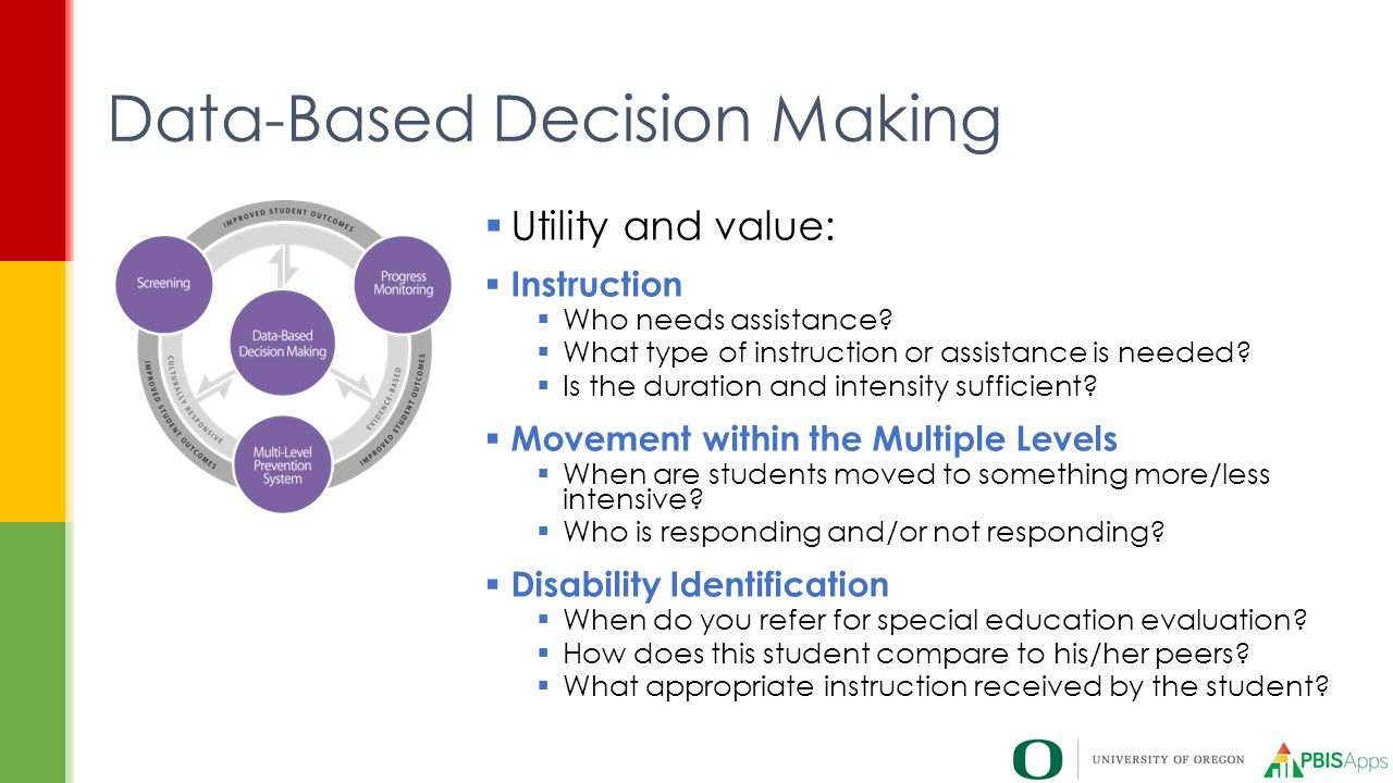 Data-Based Decision Making  Utility and value:  Instruction  Who needs assistance.