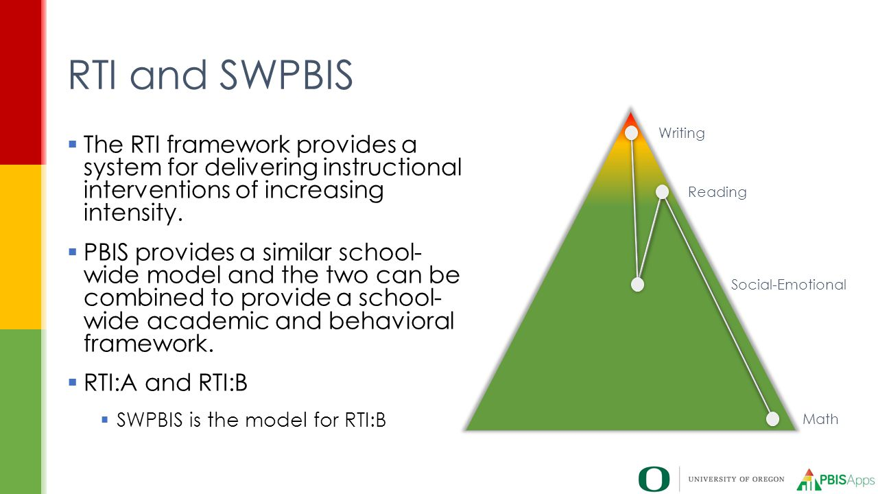  The RTI framework provides a system for delivering instructional interventions of increasing intensity.