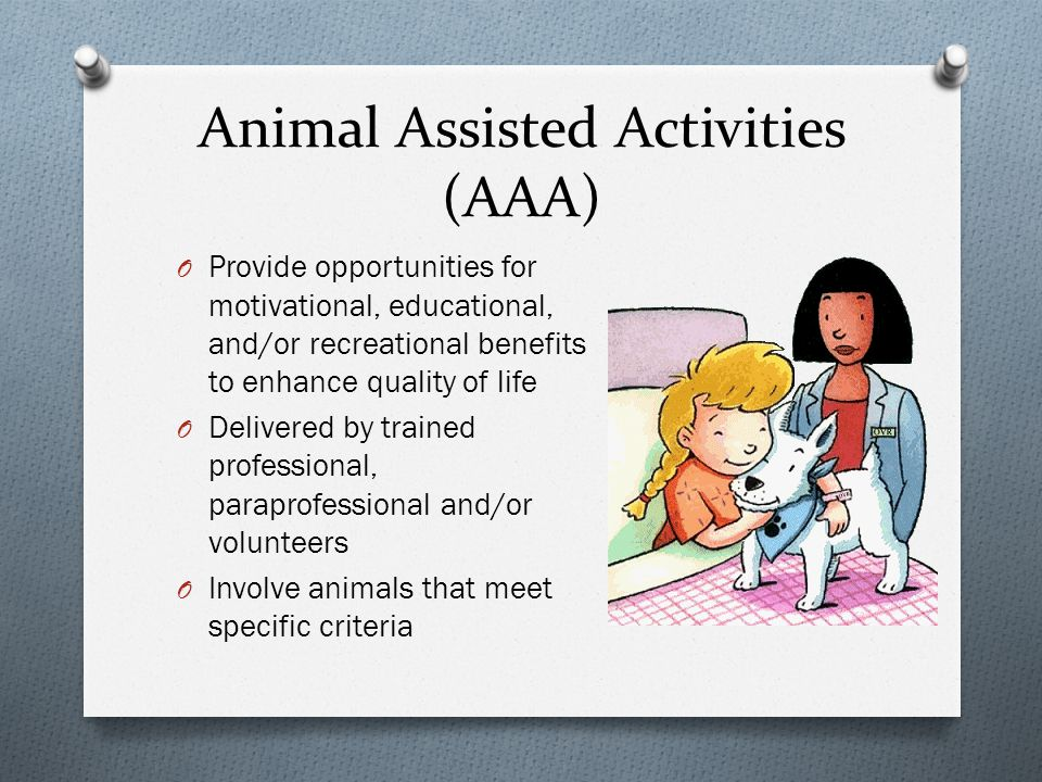 Personal Pet Visitation O Pets visiting with patients O Some therapeutic benefits can be attained, but there is no specific goal for the interaction O Visits are not structured and do not involved trained staff O Patient progress is not tracked, but is often noted to be beneficial
