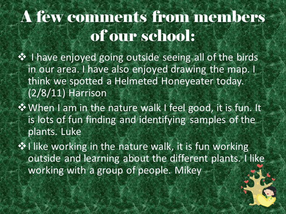 A few comments from members of our school:  I have enjoyed going outside seeing all of the birds in our area.