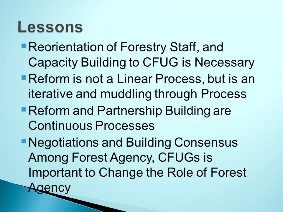  Reorientation of Forestry Staff, and Capacity Building to CFUG is Necessary  Reform is not a Linear Process, but is an iterative and muddling through Process  Reform and Partnership Building are Continuous Processes  Negotiations and Building Consensus Among Forest Agency, CFUGs is Important to Change the Role of Forest Agency