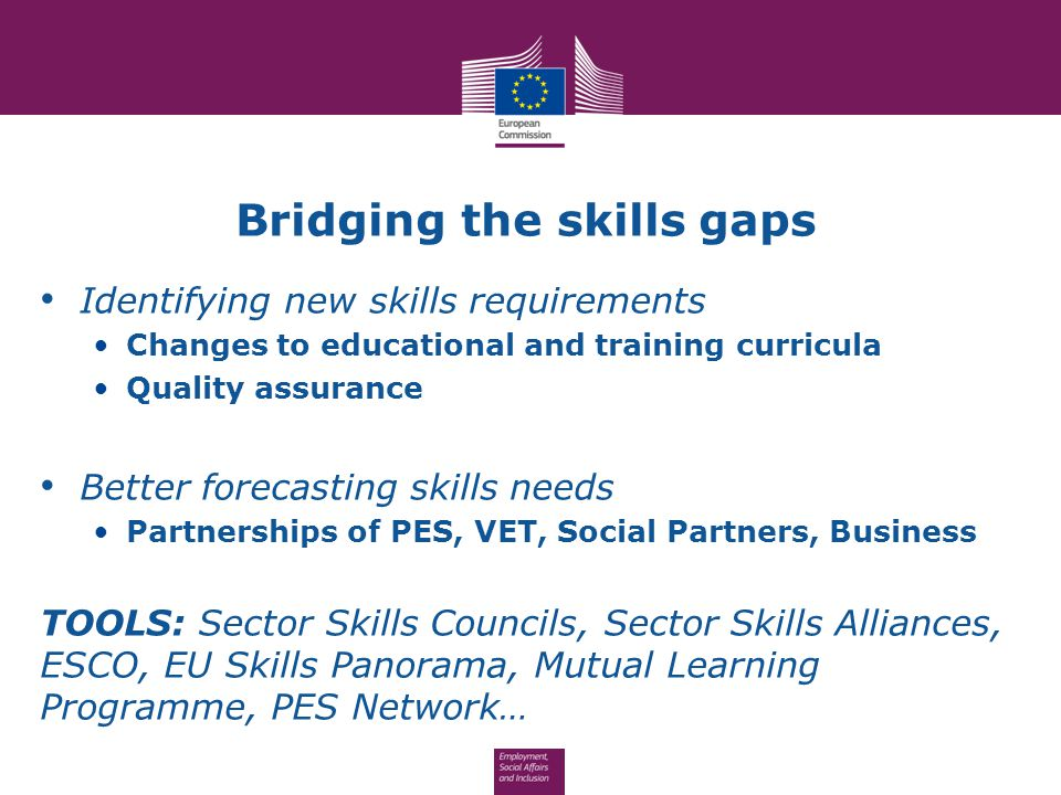 Bridging the skills gaps Identifying new skills requirements Changes to educational and training curricula Quality assurance Better forecasting skills