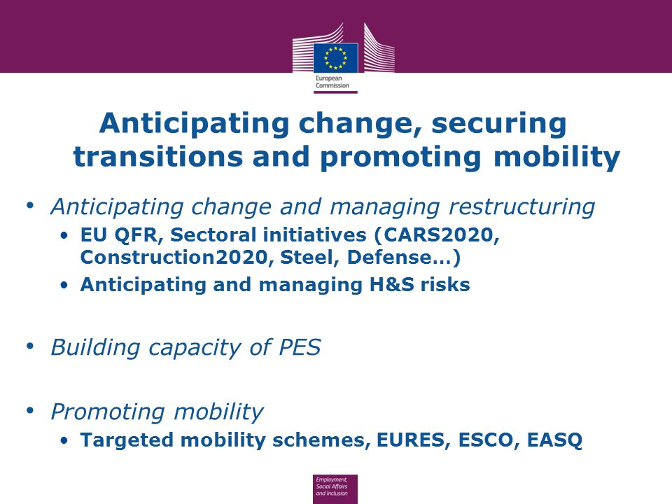 Anticipating change, securing transitions and promoting mobility Anticipating change and managing restructuring EU QFR, Sectoral initiatives (CARS2020