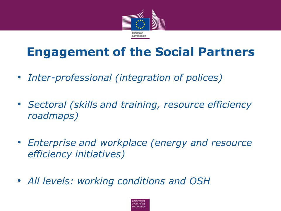Engagement of the Social Partners Inter-professional (integration of polices) Sectoral (skills and training, resource efficiency roadmaps) Enterprise