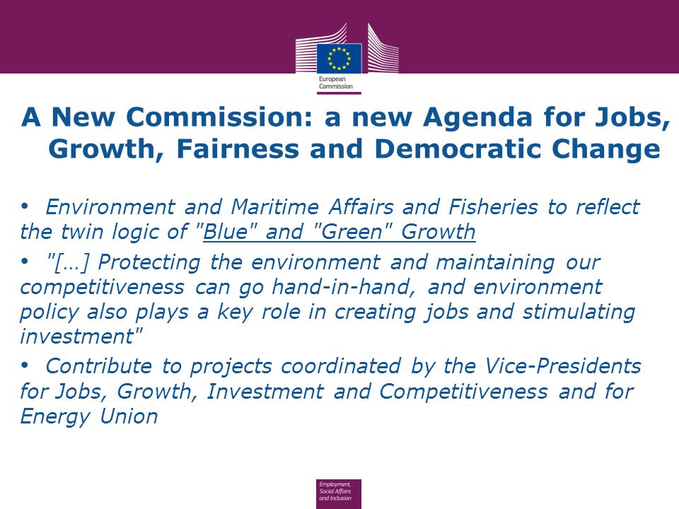 A New Commission: a new Agenda for Jobs, Growth, Fairness and Democratic Change Environment and Maritime Affairs and Fisheries to reflect the twin log