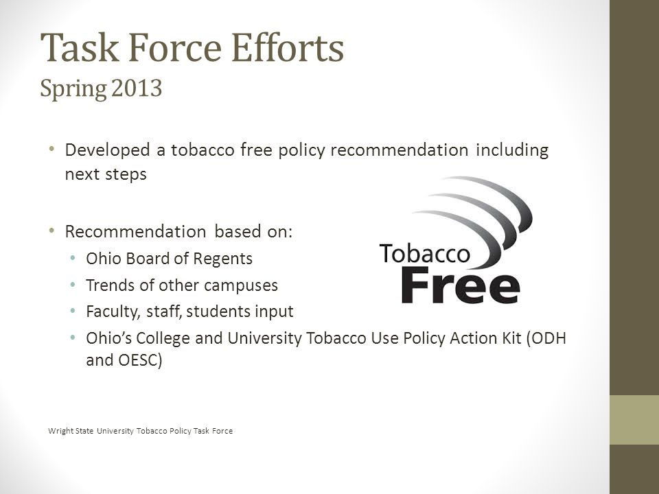 Task Force Efforts Spring 2013 Developed a tobacco free policy recommendation including next steps Recommendation based on: Ohio Board of Regents Tren