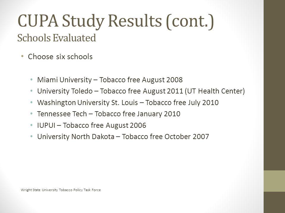Choose six schools Miami University – Tobacco free August 2008 University Toledo – Tobacco free August 2011 (UT Health Center) Washington University St.