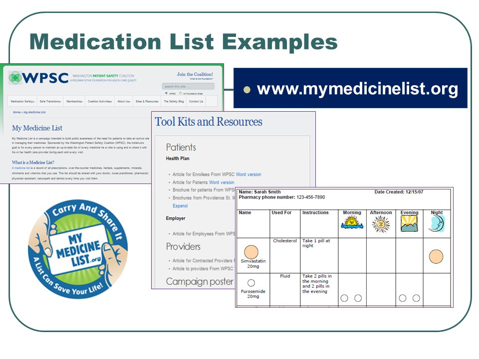 Medication List Examples www.mymedicinelist.org