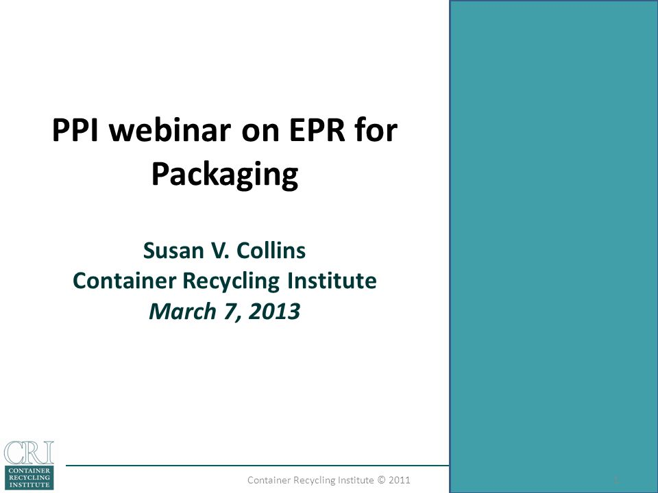 PPI webinar on EPR for Packaging Susan V.