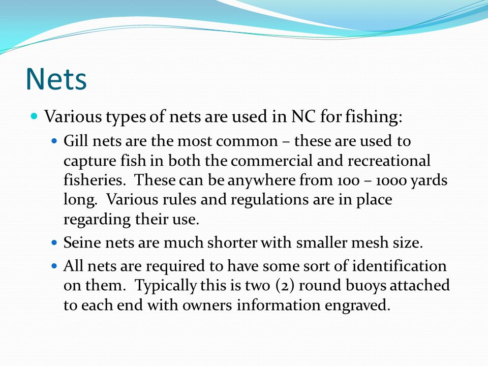 Nets Various types of nets are used in NC for fishing: Gill nets are the most common – these are used to capture fish in both the commercial and recreational fisheries.